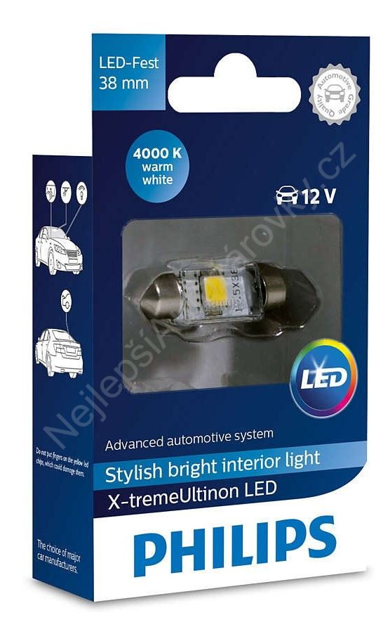 LED autožárovka Philips X-tremeUltinon Festoon C5W 10,5x38 4000K