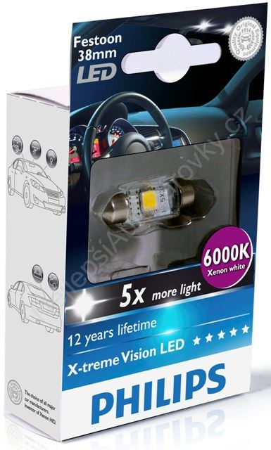 LED autožárovka Philips X-tremeVision Festoon C5W 10,5x38 6000K