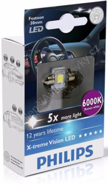 LED autožárovka Philips X-tremeVision Festoon C5W 14x30 6000K