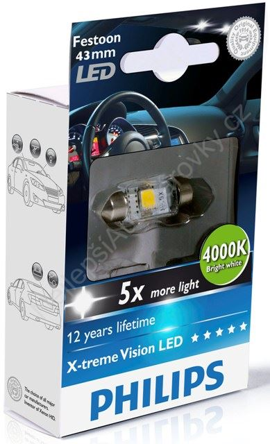 LED autožárovka Philips X-tremeVision Festoon C5W 10,5x43 4000K