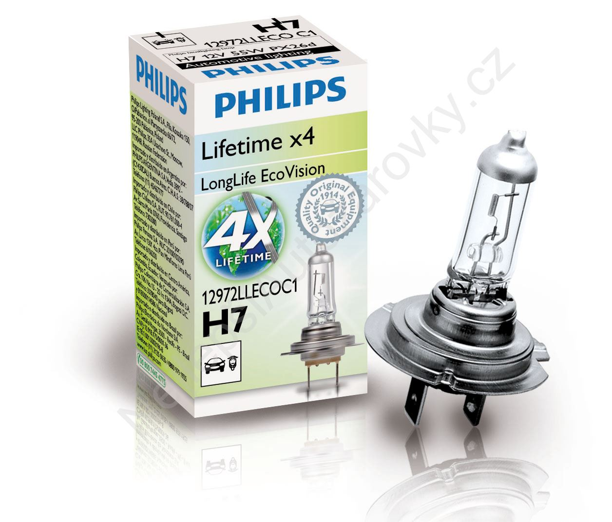 Autožárovka LongLife Eco Vision H7 12V 55W 12972LLECOC1 Philips